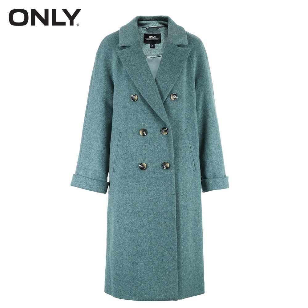 Tylko damska zimowa nowa wełniana dwurzędowa długa wełniana kurtka tylna szyba design Rolling cuff | 11846U505