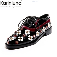 KARINLUNA High Quality Fashion Large Size 33 40 Rivet Lace Up Platform Shoes Woman Low Heel