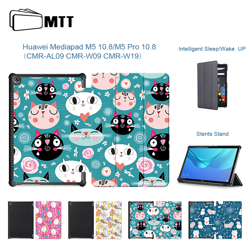 Cartoon Kitten Case cover For Huawei M5 pro 10.8'' Tablet PC Stand PU Leather Protective Case For Huawei M5 10 CRM-AL09 CRM-W09