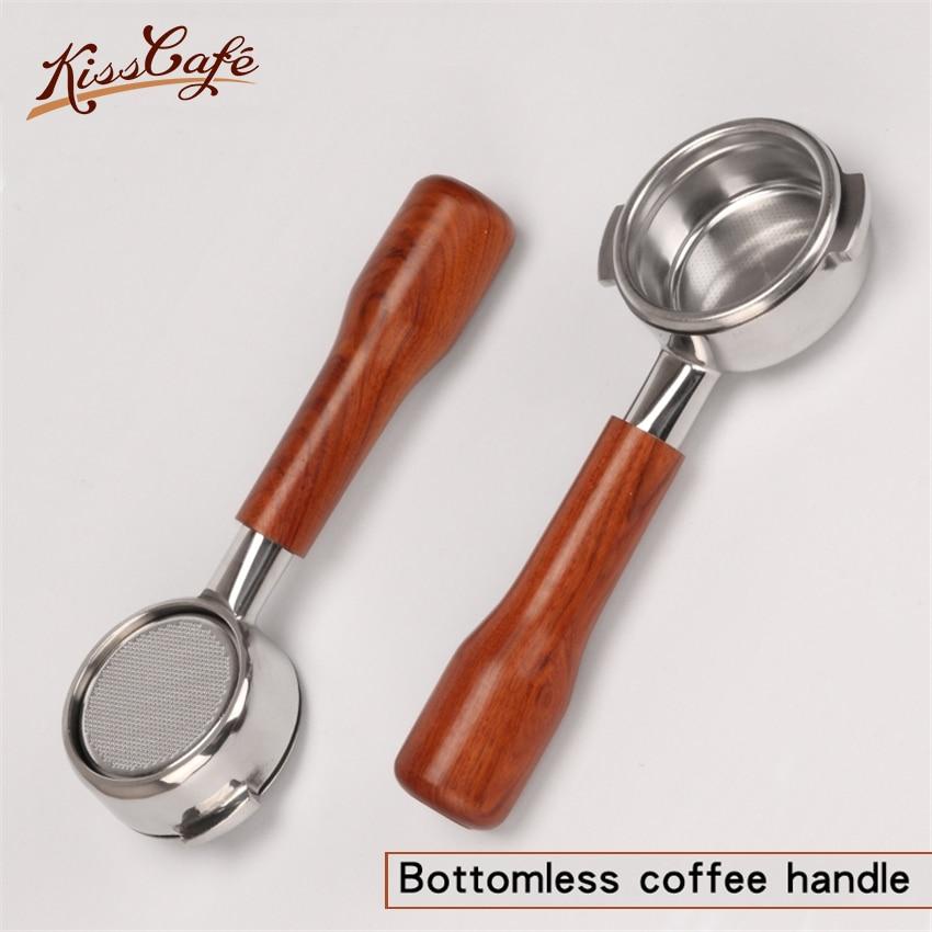 스테인레스 스틸 커피 기계 bottomless 필터 홀더 portafilter 산성 지점 nuova 전문 액세서리에 대한 나무 손잡이-에서커피 필터부터 홈 & 가든 의  그룹 1