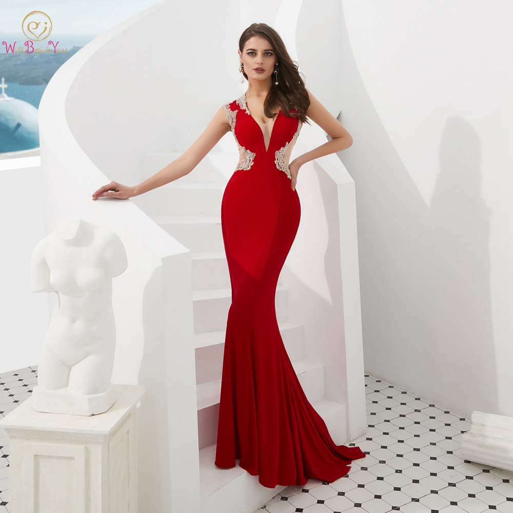 Red Prom Dresses Mermaid Jersey Beading Crystal 2019 Cut Out Long Evening Formal Party Gown Walk