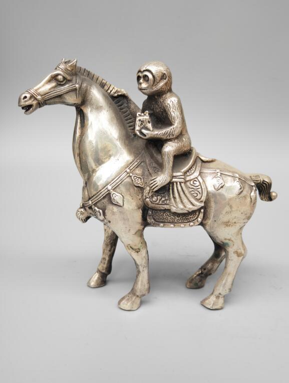 Statue d'artisanat de cheval de singe en cuivre blanc chinois