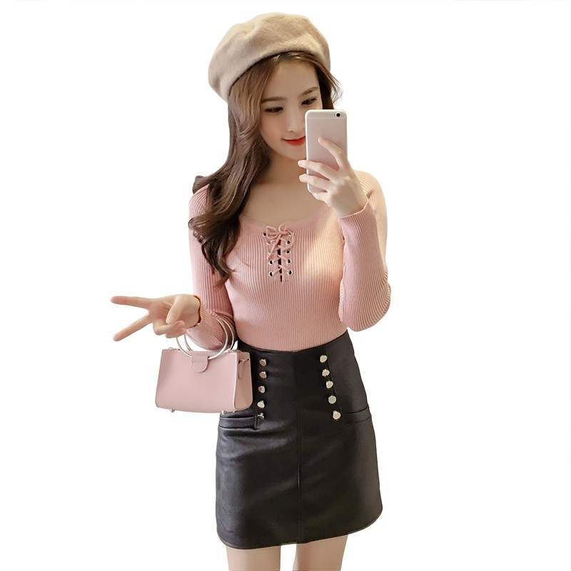 Ladies Cotton Pullovers Lace Up Jumpers Knitted Tops Women Autumn Winter Long Sleeve Slim Sweater
