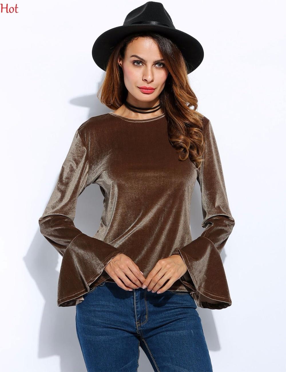 Women Velvet T Shirt Vintage Vintage Style Round