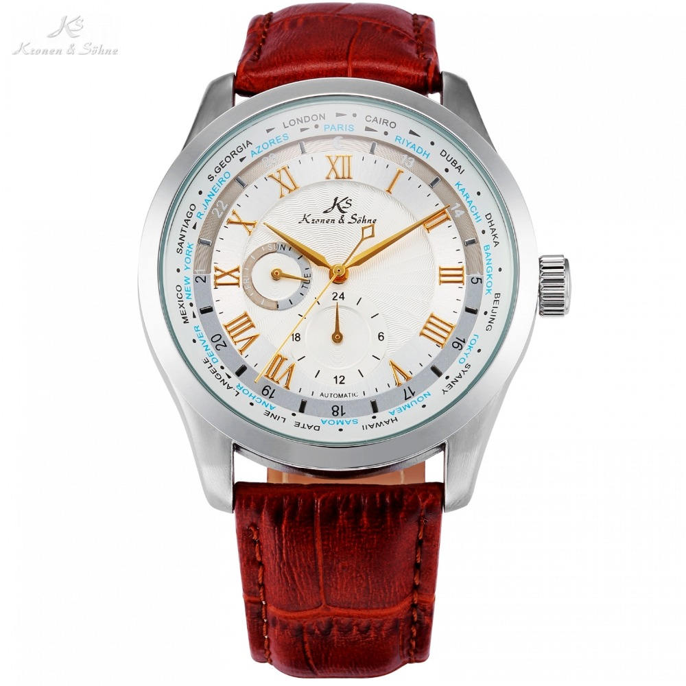 Imperial KS Automatic White Dial 24 Hour Day Roman Self Winding Relogio Brown Leather Strap Mechanical Mens Wrist Watches /KS304 ks brand white gold auto date day 24 hour display black leather male clock wrist automatic self wind men mechanical watch ks246