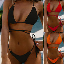 New Women Push Up Bikini Set Bra Padded Swimwear Lady Swimsuit Bathing Suit Low Waist Biquini