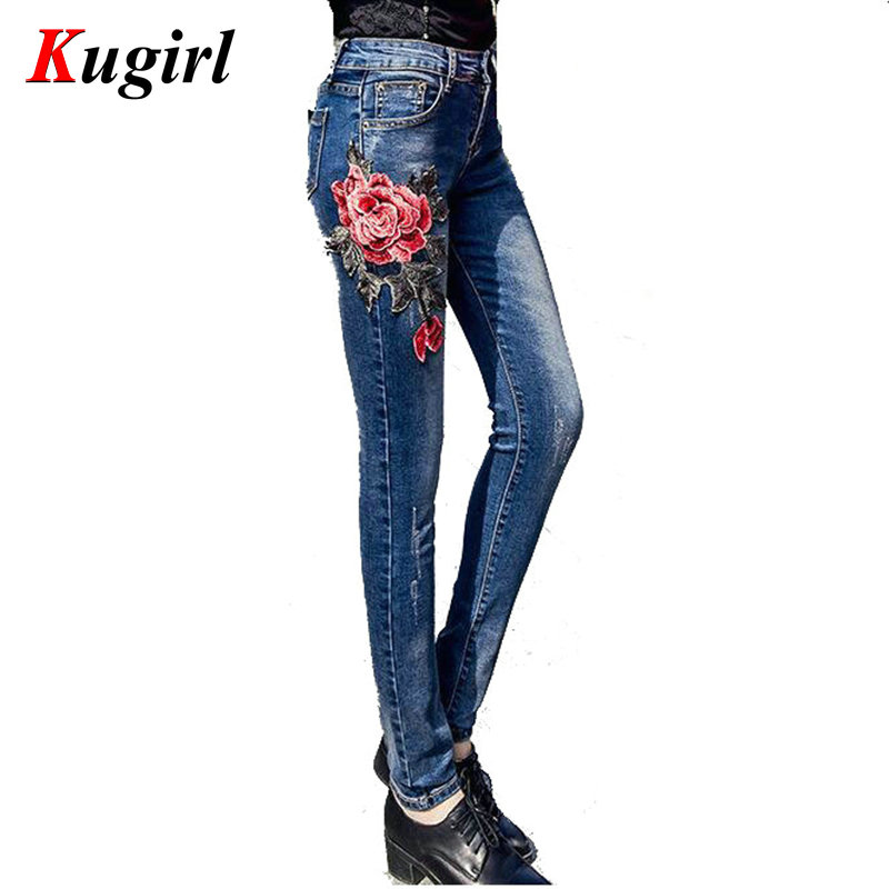 American Apparel BF Women Jeans High Waist Peony 3D embroidery High Waist Ladies Slim Denim Pants Jeans Bottoms Pencil Pants american apparel women high waist jeans