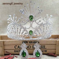 zerongE jewelry 4.1 Baroque silver Bridal Tiara Crown Green Diadem hair comb Crown with earring for Girls Wedding decorative