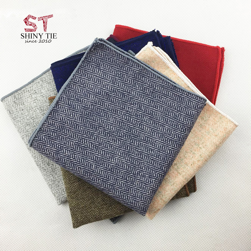 Men'S Suit Pocket Square 24*24Cm Handmade Pure Color Wool Handkerchiefs For Men Solid Hankies Turned Finish Drop Shipping Gift