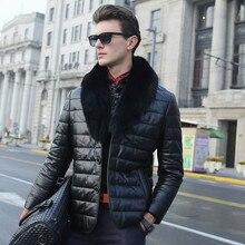 Fashion Men Warm Thickening Leather Coat Jacket Faux Fur Parka Outwear Cardigan