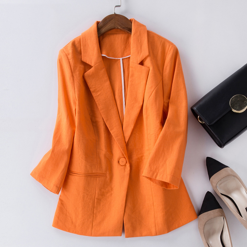 Female Blazer Feminino Plus Size 2XL Formal Jacket Women's yellow Blaser Ladies Blue Women Cotton Linen Suit Office Ladies Jacke