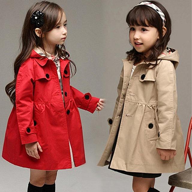 2017 Nuevo bebé de La Manera Rojo cazadora de manga larga chaqueta de los niños ropa de algodón muchachas del niño cabritos de la capa outwear caliente