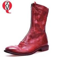 ZVQ Новая Весна мягкая кожа круглый низкая обувь на квадратном каблуке молния спереди зимние теплые черные и красные ботинки до середины икр