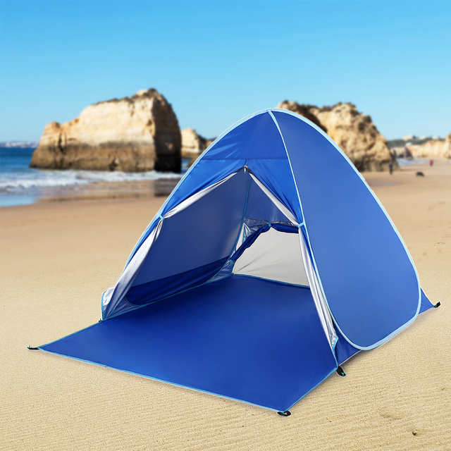 Lixada Camping Tents Sun Shelter Automatic Pop Up Beach Tent Fishing Cabana for 2-3 Person Awning Tent UV Protection Beach Shade