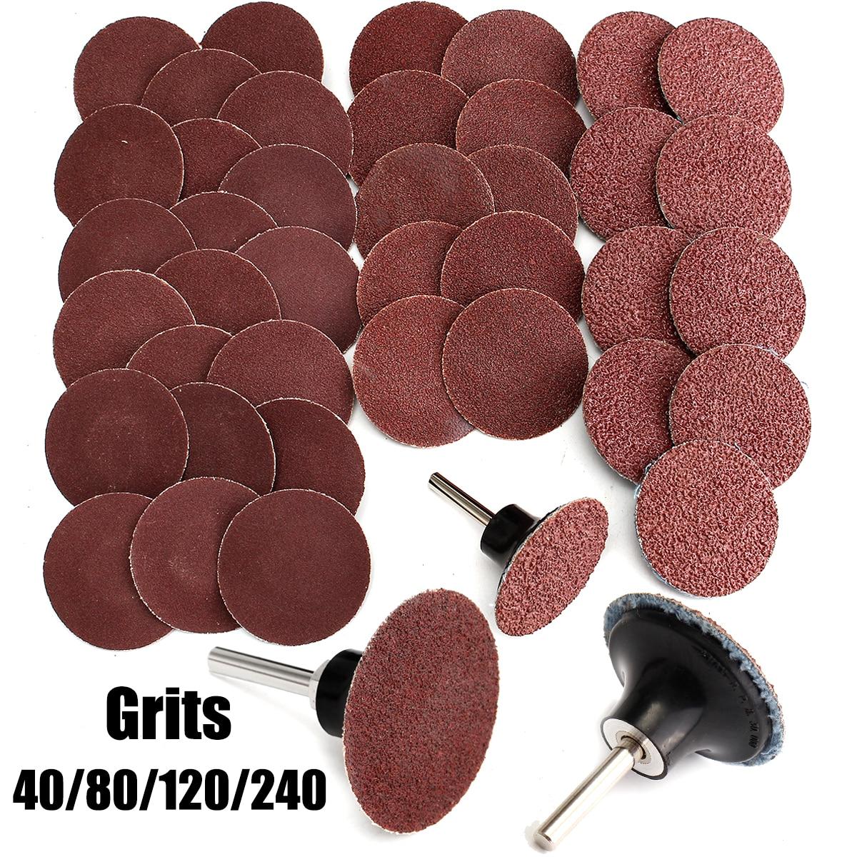 "40+1 Mix 40/80/120/240 Grits 2"" Roloc Type R Sanding Disc Abrasive Mandrel Lock Sanding Disc For General Polishing Sanding Pad"