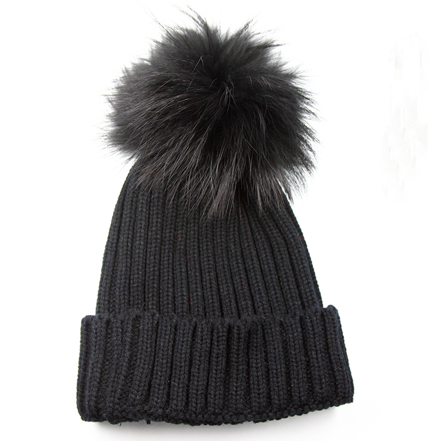New Fashion Women's Winter Hats With Black Real Raccoon Fur Pompom Casual Adults Black Fur Pom Pon Beanies Caps For Men