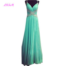 A Line V-Neck Long Chiffon Evening Dress Spaghetti Straps Ruffled Beaded Prom Gowns Sexy Backless Floor Length Formal Dresses цена и фото