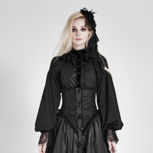 New Punk Gothic Lolita Women Shirts Puff Sleeve Cultivate One's Morality Slim Fit Women Blouse Shirts With Lace