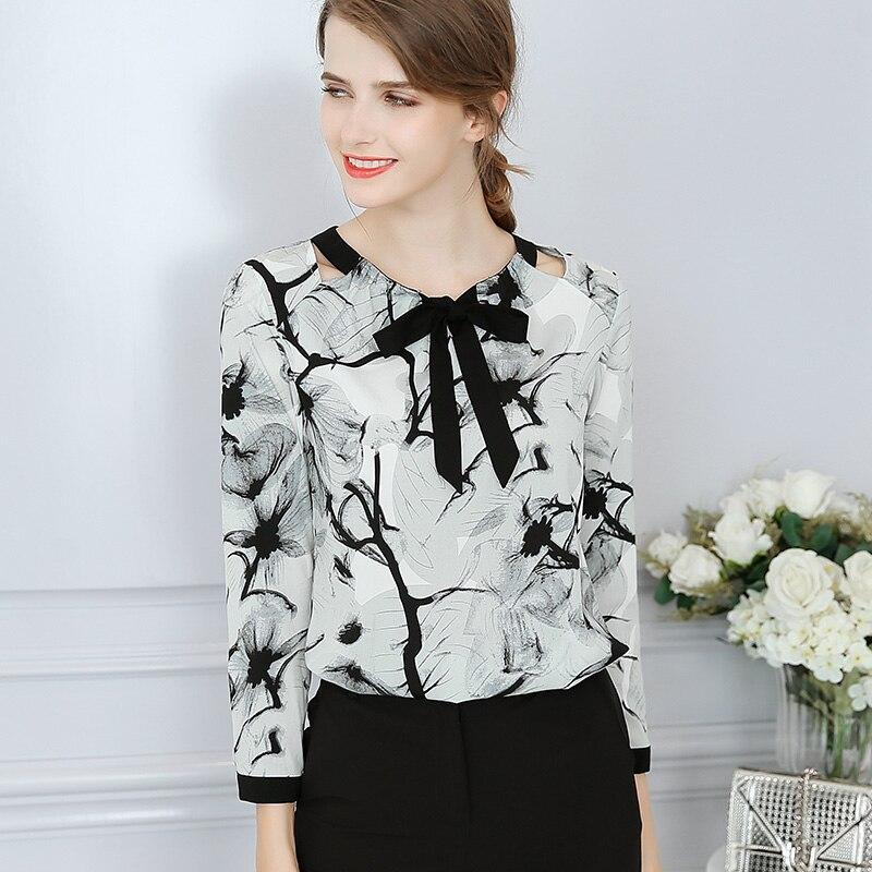 new spring and summer 2018 women gray chiffon printed blouse all-match slim Blouse Shirts sleeved chiffon shirt bottoming tops