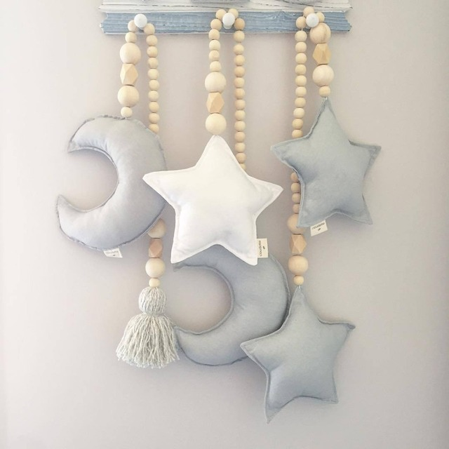 Nordic Style Kids Romm Decoration Wooden Beads Garland with Ball Tassels Gift Scandinavian Decoration Wall Hanging Nursery Decor