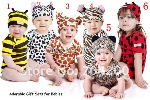 8 sets/lot-Zebra Short Sleeve Cartoon Animal Infant Clothing set/Pajamas/Infant&Toddler Clothing sets/Baby modeling Rompers