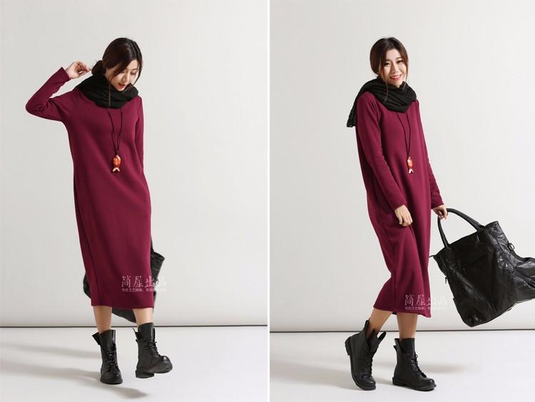 SCUWLINEN Winter Dress 17 Vestido Women Dress Plus Size Velvet Thickening Thermal Basic Dress Long Sleeve Solid Warm Dress S59 6