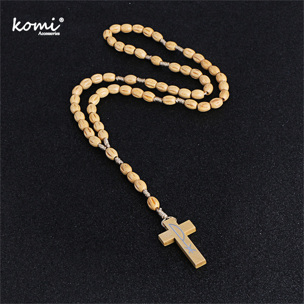 Us 209 Komi 2018 New Wooden Beads Cross Pendant Necklace For Women Men Catholic Christ Religious Jesus Rosary Jewelry Gift Craft R 001 In Pendant