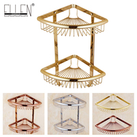 Luxury Crystal Brass Gold Bathroom Shelves Shampoo Holder Corner Bath Basket Bathroom Accessories Bath Hardware EL30023