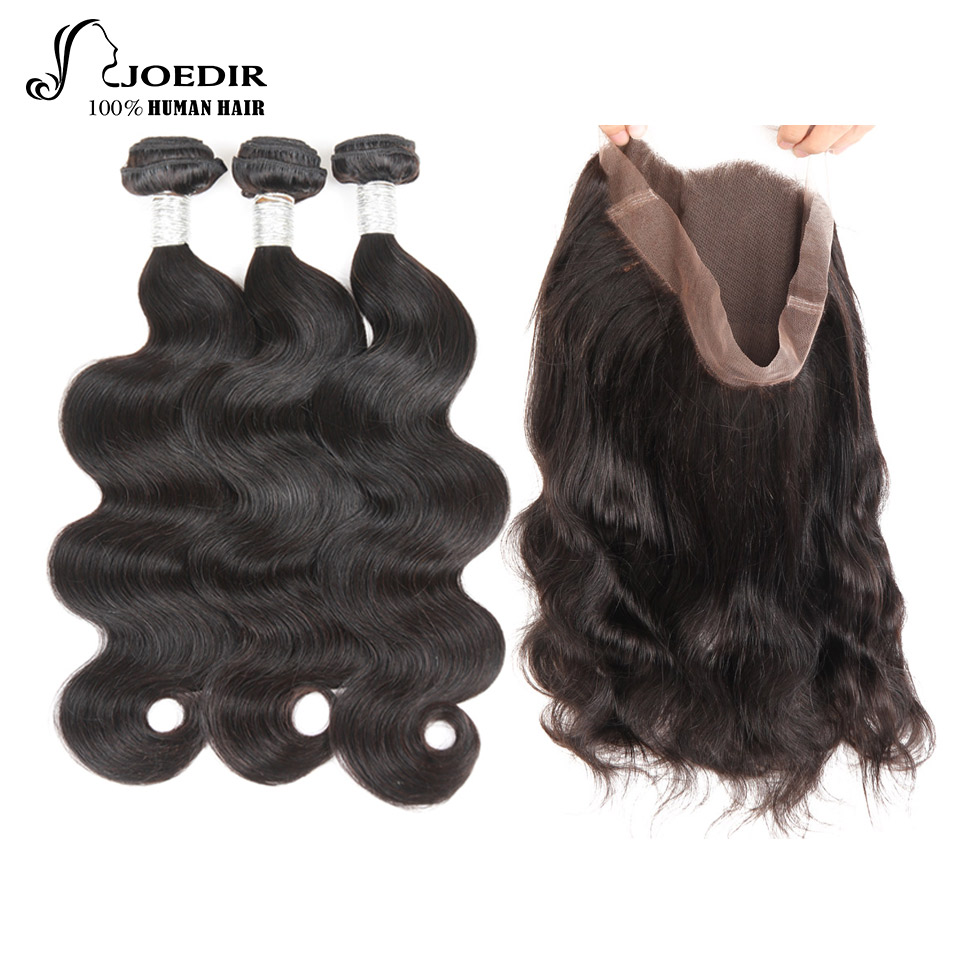 Joedir Human Hair 360 Lace Frontal with Bundle Body Wave Brazilian Human Hair Weave 3 Bundles with Frontal Closure Non-remy