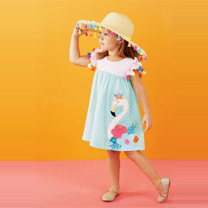 1-6 T Entzückender Kinder Mädchen Kleidung Floral Flamingo Sommer Kleid Lässig Boho Strand Sundres Quasten Nette Elegante Vestidos