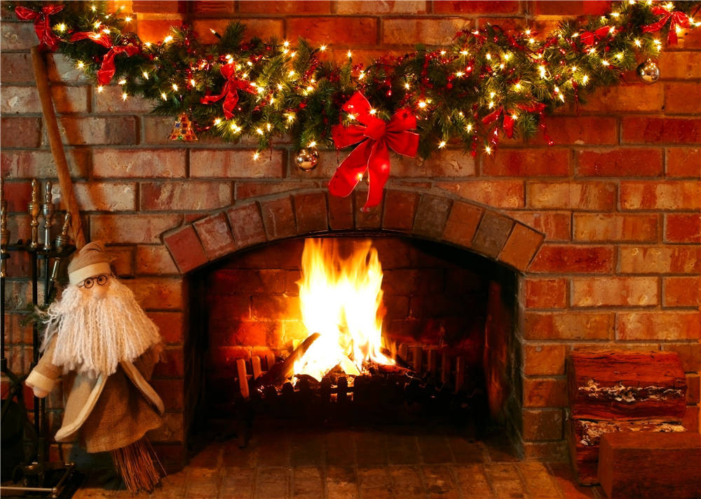 Fireplace Photography Background Christmas Photo Studio Props Vinyl Lights Backdrops 7x5ft or 5x3ft christmas002