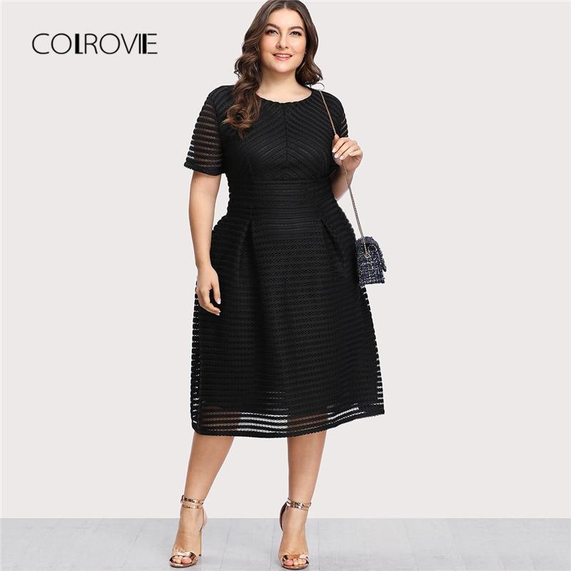 COLROVIE Plus Size Black Pleated High Waist Striped Mesh Sheer Sexy Dress Women Autumn Party Dress Elegant Long Dresses