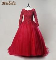 Vestidos De Novia Ball Gown Red Wedding Dress 2017 Beading Lace appliques bride dress Scoop sexy wedding dresses hot sale