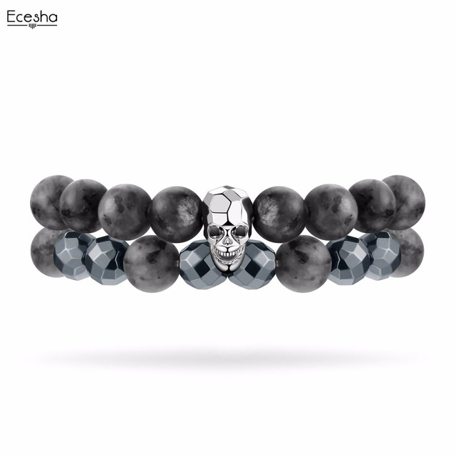 Metal Punk Skull Bracelet Set Natural Beads Strand Bracelets Pulseras Hombre Grey Stone Stretch Wrap