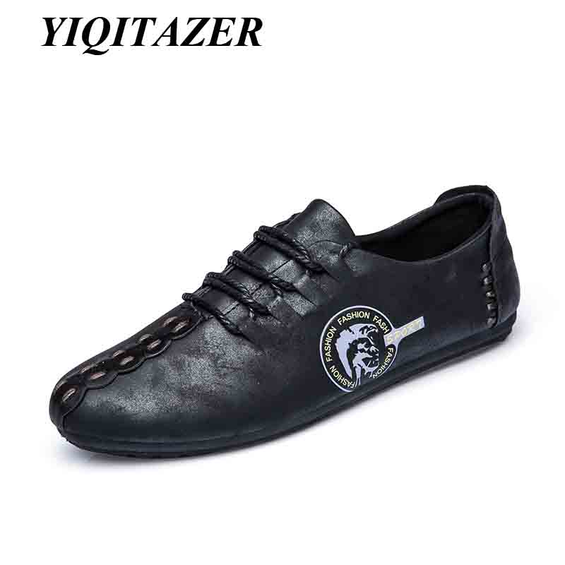 YIQITAZER 2017 New Summer Fashion Leather Casual Man Shoes,Lace up Cool Quality Business Mens Shoes Leather Man Black yiqitazer 2017 new summer fashion casual shoes men breathable cool lace up high quality man leather shoes size 7 9 5