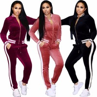 Top Fashion High Quality Striped Women Jack Top With Pants Two Pieces Velvet Women Suits