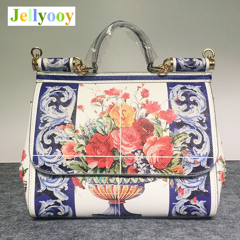 Italy Sicily women Bag Retro palace painting color design handbag high grade leather shoulder bag lady tote bag sac a main 25cm ladylike women s tote bag with metal and canday color design