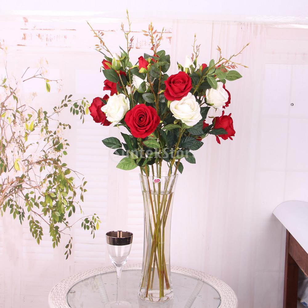 3-Head Silk Artificial Rose Flower Leaf Stem Wedding Home Garden Decor 6 Colors Pick
