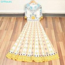 QYFCIOUFU 2018 High Quality Women Flowy Maxi Dress Elegant Fashion Runway Floral Print Flare Sleeve Summer