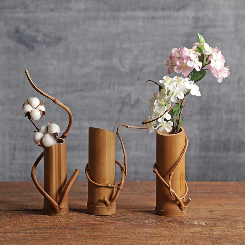 Style Vintage Bambou vase Plante De Table Bonsaï Fleur De Mariage Vase Décoratif Avec Plateau En Bois Accessoires De Décoration À La Maison Ваза