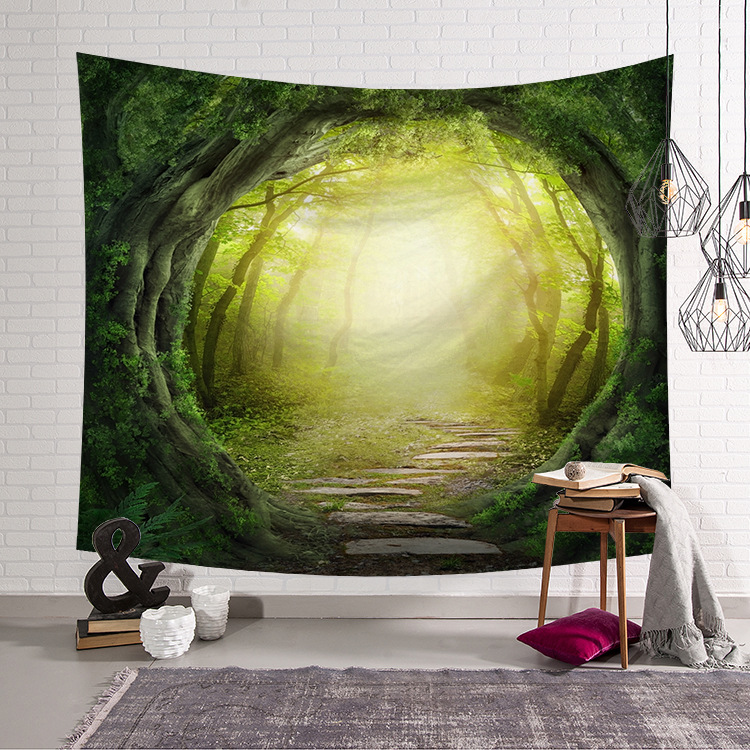 Image 2 - CAMMITEVER Blue Green Woods Forest Natural Scenic Tapestry Beautiful Sight Printed Wall Hanging Tree Natural Scenery Tapestry-in Tapestry from Home & Garden