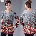 20 color! xl, xxl, 3xl, 4xl, 5xl! 2016 nuevo invierno camisa grande de talla grande para mujeres Camisas Blusas de algodón de la mujer impreso blusa Top túnica