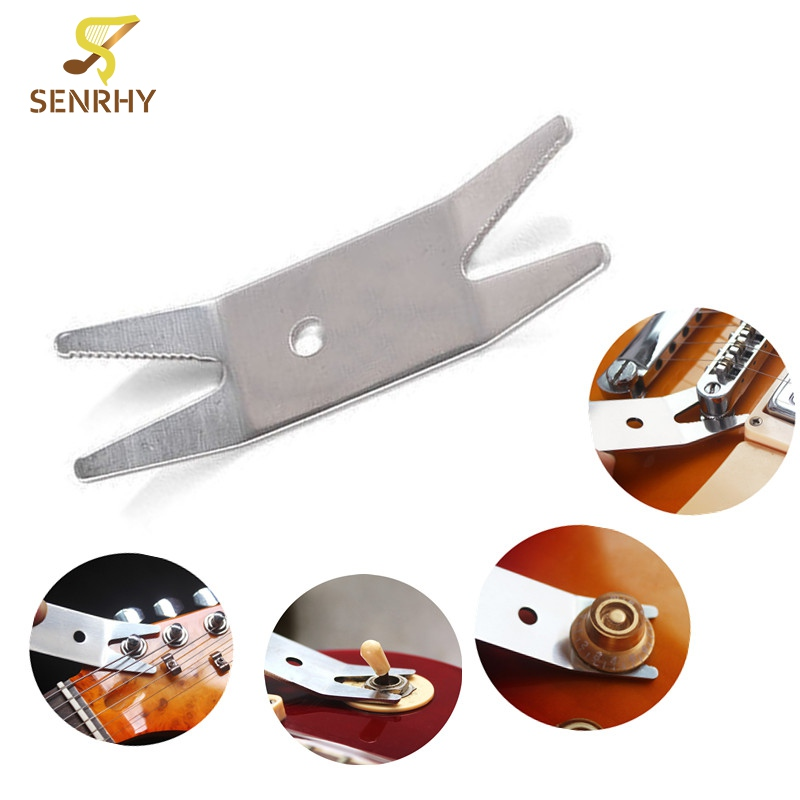Guitar Bass Stainless Steel Multi-tool Spanner Wrench Knob Jack Tuner Bushing For Tightening Pots Switches Guitar Accessories chrome vanadium steel ratchet combination spanner wrench 9mm
