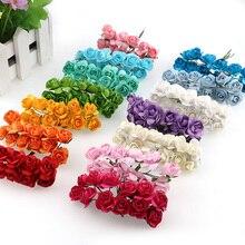 144pcs  Mini Paper Rose Artificial Flowers For Home Wedding Decoration DIY Pompom Wreath Decorative Bridal Flower Fake Flower