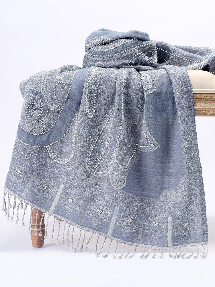 National Style Shawls Scarf Women Autumn Winter New Exquisite Nepal Tassels Wrap Pashmina Wool Nail Beads