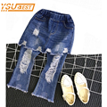 New 2017 Baby Girls Jeans Pants Spring Blue Hole False Two Bust Nice Bellbottoms Cowboy Jean Pant 2-7Yrs Children Trousers