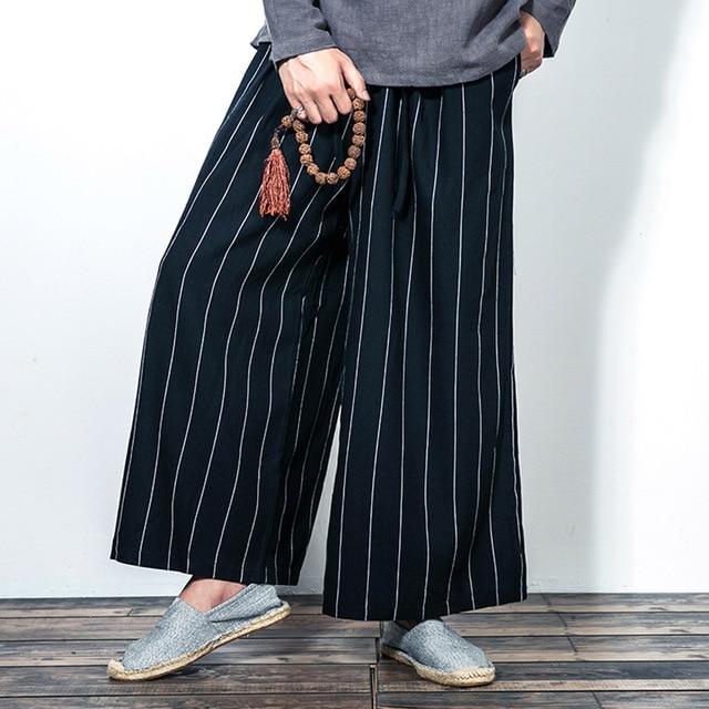 Mens Moda Gamba Larga Pant Kimono Giapponese Stile Comodo Allentato Casuale  Della Banda pantaloni di Lino 7773c45f763a