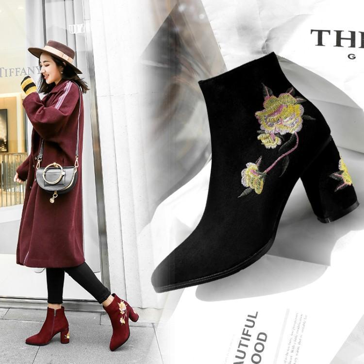 Rouge Cheville Talon Bout Bottes Broder Pointu Fleurs Pour Show Daim Chaussures Femme Noir Beige as Hiver Carré rouge Coloré Noir Haute Femmes En Chic 78wntt