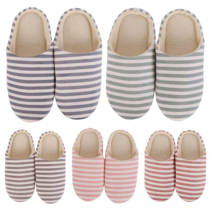 Hot Five Colors Striped Indoor Soft Bottom Cotton Slippers Slippers For Home Shoes Interior Non-Slip Shoes
