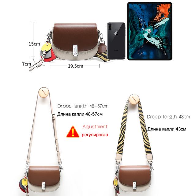 Women's Travel Handbag Genuine Leather Fashion Cross-body Saddle Bag